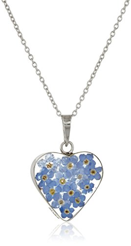 Sterling Silver Blue Pressed Flower Heart Pendant Necklace, 16'