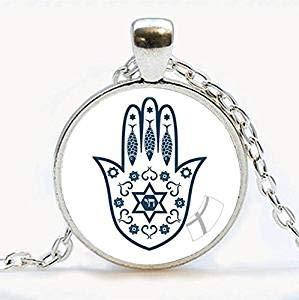 Fashion Hamsa Hand Glücks-Amulett Halskette Hand der Fatima Schmuck Judaica Kabbala Charm Hand of Miriam Anhänger Halskette handgefertigt Schmuck