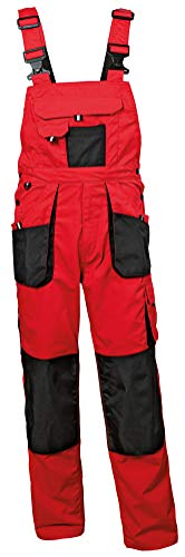 Stenso Emerton® - Pantalones con Peto de Trabajo para Hombre - Resistentes - Rojo/Negro - 46