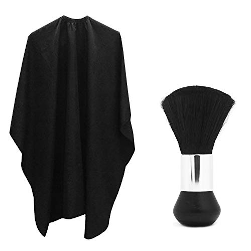 Professional Hair Salon Nylon Cape with Metal Adjustable Closure & Neck Duster, SourceTon Light Weight Extra Long Cape (60 inch X 47 inch) and Neck Duster Brush, Perfect for Barbershop and Salon