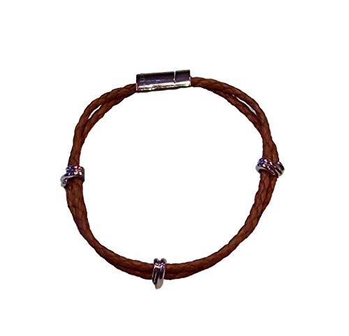LUXENTER BL00938100 Pulsera de Cuero marrón Trenzada con Cierre de iman, Modelo Bakongo
