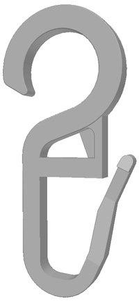 Gardineum 100 Faltenlegehaken/Gardinenhaken (840-10) mit 10 mm Öse (weiß)
