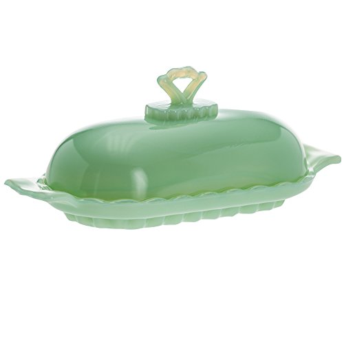 Mosser Glass Decorative Jadeite Opaque Green Lidded Butter Dish - Made In US (One Pack)