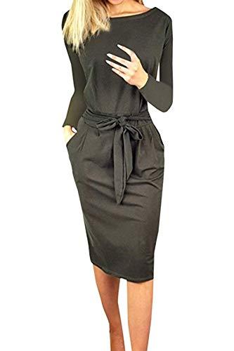 Vestito da Elegante MXYZ Girocollo Casual Slim Mode Mini Abito di Colore Solido da Donna Abiti al Ginocchio da Festa Cocktail (3XL, 000181Grigio Scuro)
