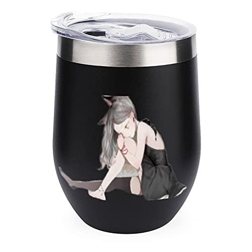 Vaso de vino Neko-Kawaii-White-Anime-Sweet-Cute dressYHO Vaso para abuela/abuelo día de la madre regalo para la abuela cumpleaños negro 12 oz