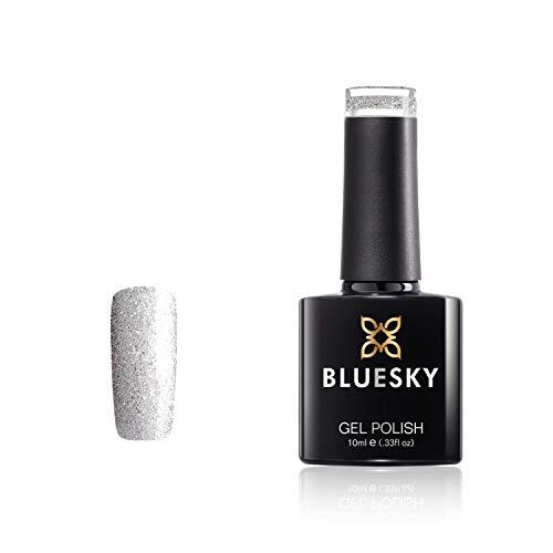 Bluesky Vernis Gel Semi Permanent Cure sous Lampe UV/LED Diamonds and Pearls Argent à Paillettes Moroiter 10 mL