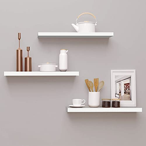 Floating Shelves White, Wall Mounted Set of 3 White Wall Shelf Modern Decorative Wall Storage Shelves for Bathroom Kitchen Living Room and More,White.