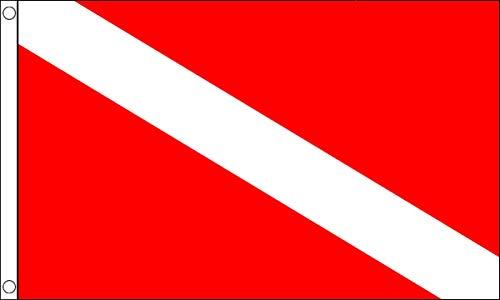 AZ FLAG Bandiera Immersione Subacquea 150x90cm - Bandiera Scuba Diving 90 x 150 cm