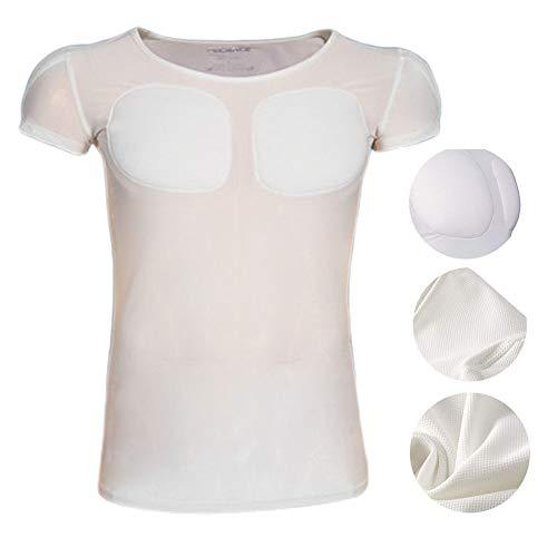 FR&RF Faux Muscles à séchage Rapide T-Shirt Homme sous-vêtement Respirant Invisible avec Simulation de Transpiration simulée - Blanc,M