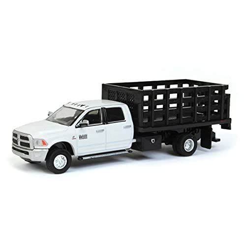Greenlight 51296-A 2018 Ram 3500 Laramie Dually White Stake Truck Outback Toys Exclusive 1:64 Scale