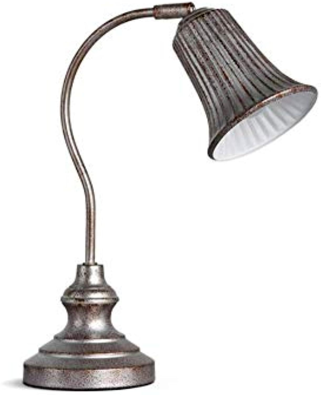 Schlafzimmer-Nachtleselampe verstellbarer Lampenkopf tun die alten silbernen Schmiedeeisen Tischlampe E27 mit Schalter (5W, Birne  warmes weies Licht, Geschenk
