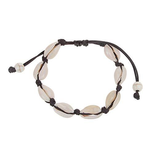 Huwaioury Bracelet de cheville en coquillage naturel fait à la main