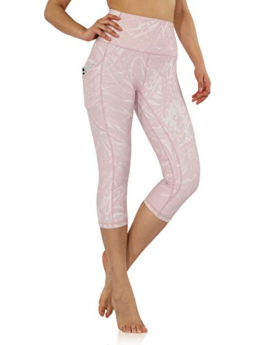 ODODOS Women's Out Pockets High Waisted Pattern Yoga Capris, Workout Sports Running Athletic Pattern Capris, Plus Size, Pink Tropical, XX-Large