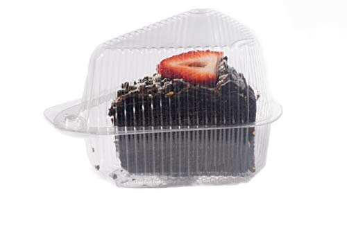 Hinged, Clear Single-Slice Pie/Cake/Cheesecake Container (High Dome Lid) - 20 Pieces