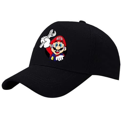 XINGAN Super Mario Hat Mario juego hombre negro sombrero de béisbol hip-hop estudiante equitación otoño e invierno Super Mary pato lengua streamer sombrero