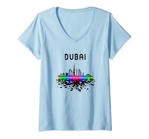 Donna Dubai Emirati Arabi Uniti Souvenir UAE Maglietta con Collo a V