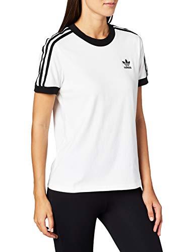 adidas 3 STR tee T-Shirt, Mujer, White/Black, 42