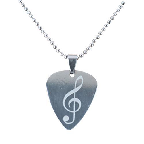 NUOBESTY - Collar de púa de guitarra de acero inoxidable con colgante...