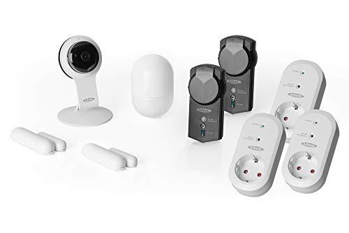 ednet Smart-Home Set - HD-Kamera, 2 Kontaktsensoren, Bewegungsmelder, 5 Funksteckdosen - Alexa Echo & Google Assistant