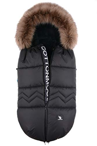 Fußsack Schlafsack Cottonmoose Footmuff North Yukon mit Fell zum Kinderwagen Sportwagen Autositz (north black)