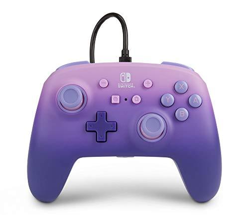 Mando con Cable Mejorado Powera Para Nintendo Switch. Fantasía Lila, Morado, Mando, Mando Para Videojuegos con Cable, Mando de Juego