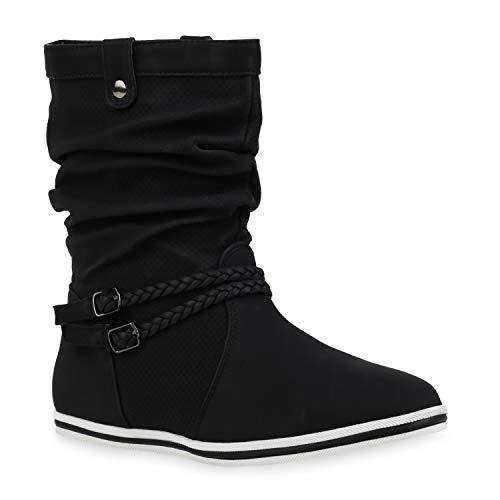 Bequeme Damen Stiefel Schlupfstiefel Lochungen Flache Boots Leder-Optik Metallic Schuhe 49210 Schwarz 41 Flandell