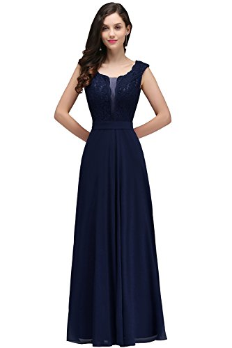 Damen Elegant V-Ausschnitt Spitzen Hochzeitskeid Standesamt Brautkleid mit Applique Maxilang Navy Blau-16, 46 EU