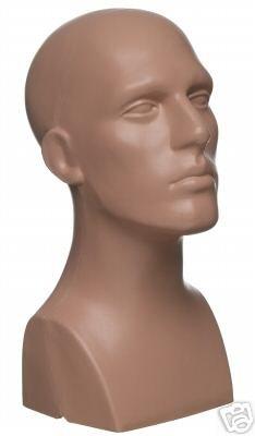 15' Tall Male Mannequin Head Durable Plastic Flesh (50013)
