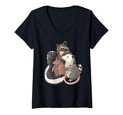 Mujer Abrazo grupal: mapache, zarigüeya, mofeta y armadillo Camiseta Cuello V