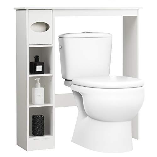 *COSTWAY Toilettenregal weiß, Badezimmerregal mit verstellbaren Regalen, Badezimmerorganisator mit Papierhalter, Toilettenschrank freistehend, Überbauschrank Waschmaschinenregal Holz*