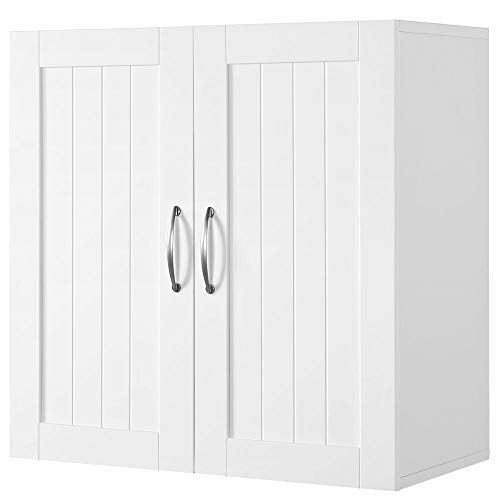 Yaheetech Bathroom Medicine Cabinet 2 Door Wall Mounted Storage Cabinet with Adjustable Shelf, 23.4in L x 12.2in W x 23.5in H, White