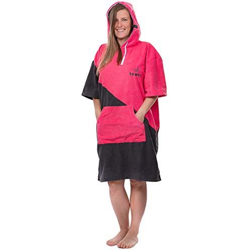 Towee Surf Poncho, Handtuch mit Kapuze, Camping Bademantel für Damen und Herren (Rosa, 70 x 100 cm)