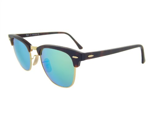 New Ray Ban Clubmaster Flash RB3016 114519 Tortoise/Grey Mirror Green 51mm Sunglasses