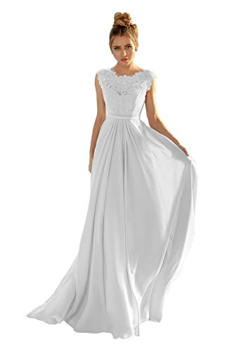 Women's Cap Sleeve A-line Lace Bodice Beach Wedding Dress Formal Evening Gown Size 2 White