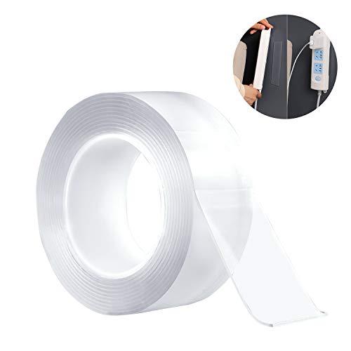 WEKON Nano Magic Tape, multifunctioneel dubbelzijdig plakband, verwijderbaar transparant plakband, wasbaar plakband voor muren, keuken, tapijtbevestiging, foto's 3M * 5cm