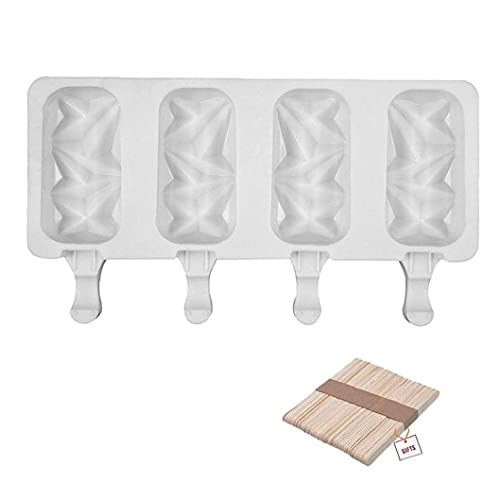 fedsjuihyg Pop Moldes De Silicona De Hielo Pop Moldes 4 Cell DIY Fabricante De Helado con Gadget 50 Palillos De Madera Útil
