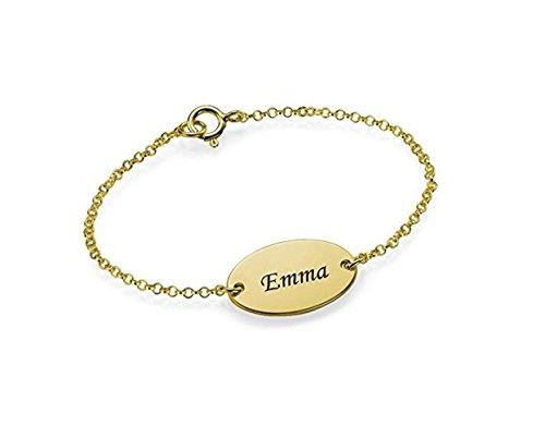 FUJIN 925 Sterling Zilver Gepersonaliseerde Geschenken Gegraveerde Armband Baby Chian Armband Gepersonaliseerd met Elke Naam
