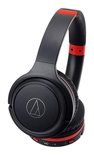 audio-technicaワイヤレスヘッドホン最大40時間再生Bluetoothマイク付き密閉型ブラックレッドATH-S200BTBRD