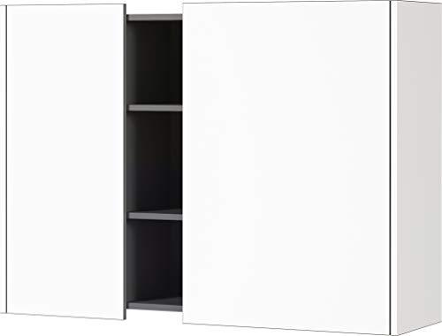 Germania Hängeschrank 3447-550 GW-Veluva, in Weiß/Graphit, mit abgesenktem Oberboden, 103 x 75 x 30 cm (BxHxT)