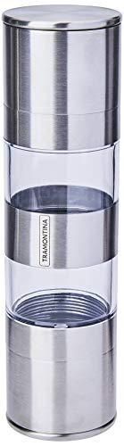 Tramontina Realce 61655000 Moedor Duplo de Sal e Pimenta com Moinho de Cerâmica, Prata