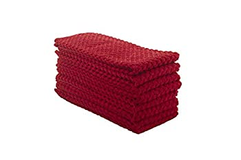 Terry Kitchen Towels 100% Cotton Kitchen Dish Towels Set of 8 Size  25x15 Inches  - 400 GSM Absorbent Terry Cloth Dish Towels Very Soft Tea Towels - Red Color