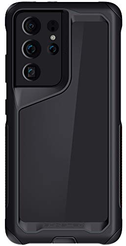 Ghostek Atomic Slim Designed for Galaxy S21 Ultra Case with Protective Metal Bumper Made of Super Tough Lightweight Military Grade Aluminum Alloy, 2021 Galaxy S21 Ultra 5G (6.8 Inch) (Phantom Black)