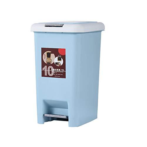Poubelle Place Plastique Poubelle, Salle de Bains Corbeille avec Couvercle Souple Fermer, pédale Poubelle for Salle de Bain Salon Et Bureau Cuisine Bacs à déchets (Color : Blue, Taille : 10L)
