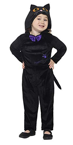 Smiffys Toddler Cat Costume, Black, with Hooded Jumpsuit and 3D Printed Eyes, 3-4 years