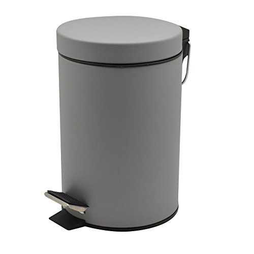 Harbour Housewares Bathroom Pedal Bin With Inner Bucket - 3 Litre Bin - Grey Finish
