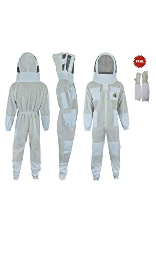 FVSG Three Layer Bee Keeper Protection Suit with Free Gloves, Sting Proof, Profession Choice, Ultra Ventilated (2X-Large)