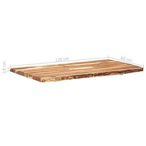 vidaXL Massivholz Tischplatte Baumkante Massivholzplatte Akazie 120x60x3,8 cm - 4