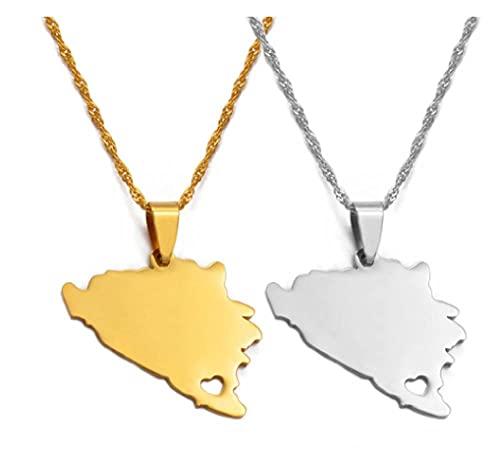 NC110 Mapa de Bosnia y Herzegovina Collares Pendientes Mujer Oro/Plata Color Encanto mapas bosnios joyería Regalos patrióticos 2pc YUAHJIGE