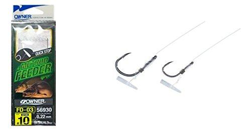 Owner Method Feeder Angelhaken mit Quick Stop - 6 Haken zum Feederangeln auf Friedfische, Feederhaken, Einzelhaken zum Feedern, Gr./Durchmesser/Tragkraft:Gr. 8/6.2kg /0.25mm