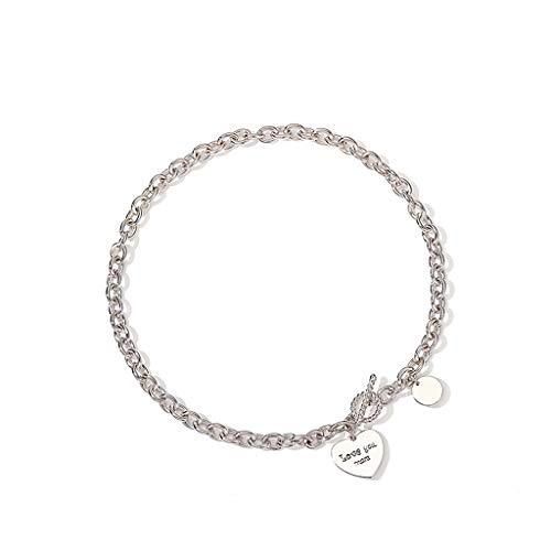 caihuashopping Collares de Mujer de Moda De Las Mujeres de la Cadena por Cable Collar del Encanto del Collar del corazón corazón Colgante Collar (Longitud: 17') Collar Dia De La Madre Regalos
